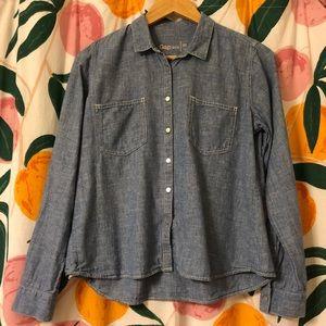 Gap linen blend chambray button down medium